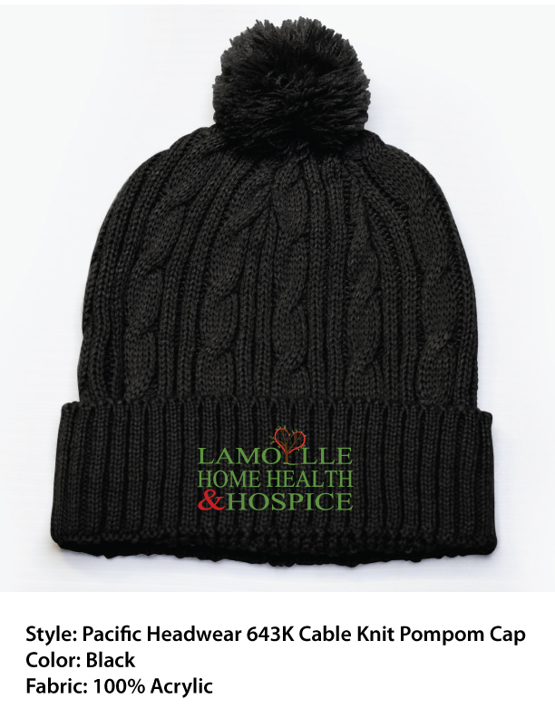 Pacific Headwear Cable Knit Pompom Beanie