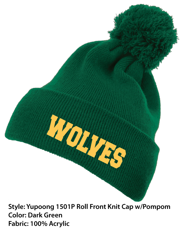 Peoples Academy Wolves | Yupoong Knit Roll Cuff Beanie With Pompom