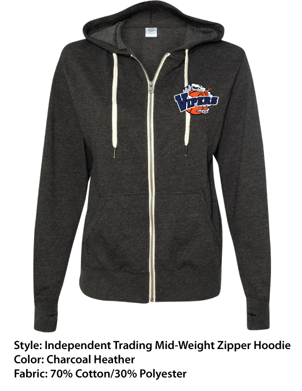Vipers Premium Mid-Weight Zipper Hoodie – Full Color Left Chest Print